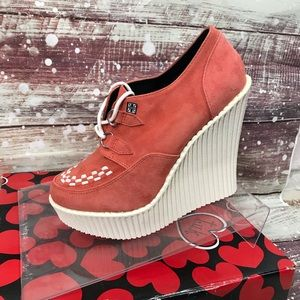 TUK Coral Suede Platform Creeper Lace-up Wedge